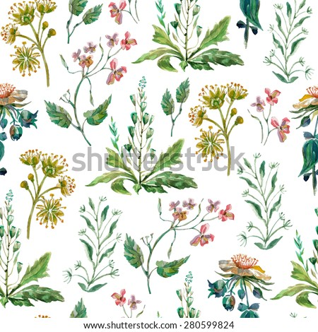 Vector floral seamless pattern. Colorful floral pattern with wild flowers on a white background, drawing watercolor