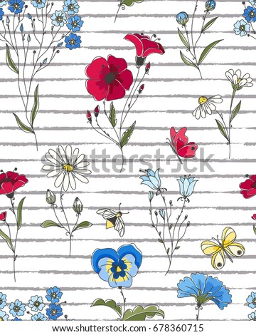Vector floral seamless pattern. Colorful floral pattern with wild flowers on striped background.