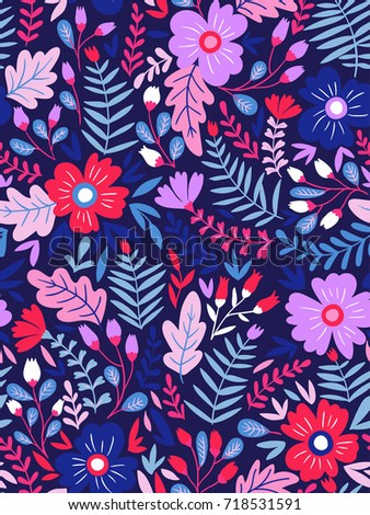 Vector floral seamless pattern in doodle style with flowers and leaves. Dark, summer floral background.