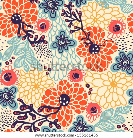 vector floral  seamless pattern with abstract blooming flowers