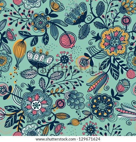 vector floral seamless pattern with abstract fruits and flowers