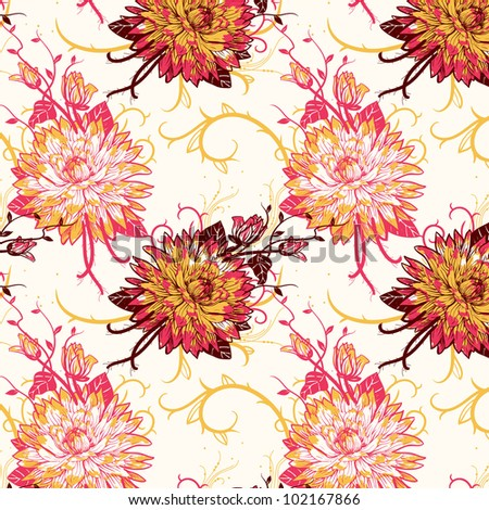 vector floral seamless pattern with blooming chrysanthemum