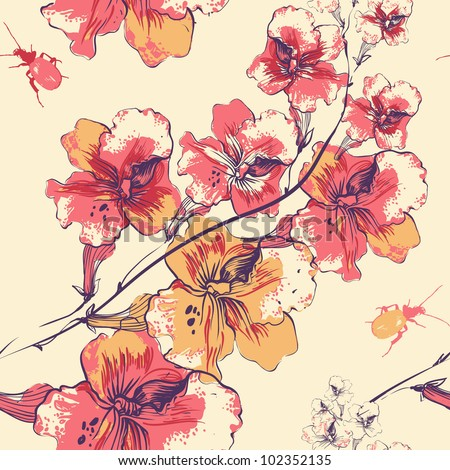 stock-vector-vector-floral-seamless-pattern-with-blooming-flowers-and-colorful-beetles