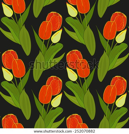 Vector floral seamless pattern with colorful bouquets of tulips on a black background. Eps 10.