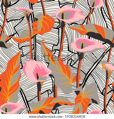 Vector floral seamless pattern with exotic calla flowers. Flamingo flowers mixed with detailed Palm leaves texture. Hawaiian, jungle plant pattern. Summer floral elements. Graphic, line drawing.