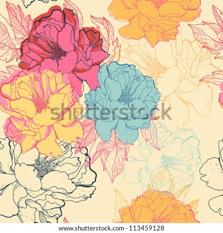 vector floral seamless pattern with fantasy blooming roses
