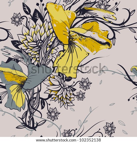 Yellow And Gray Floral Pattern vector floral seamless pattern