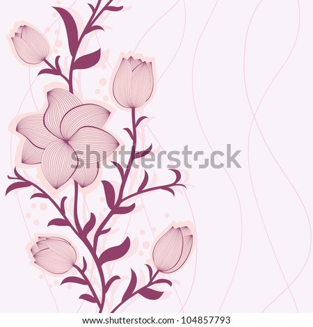 Vector floral seamless pattern with hand-drawn flowers