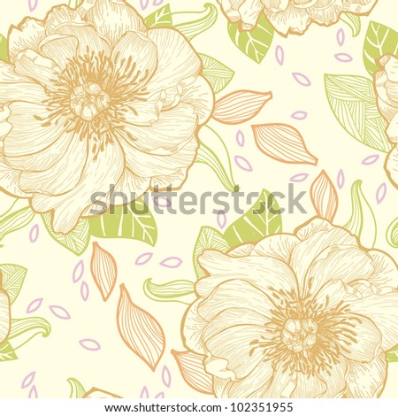 vector floral seamless pattern with hand-drawn peonies