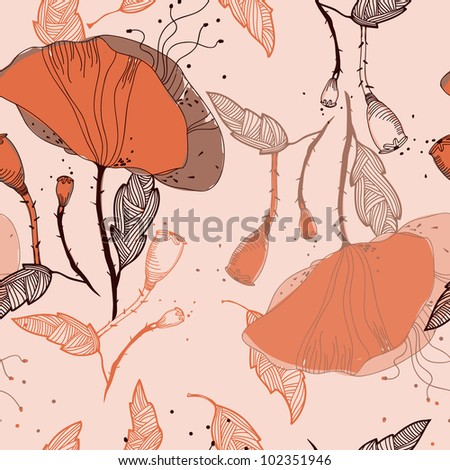vector floral seamless pattern with orange poppies