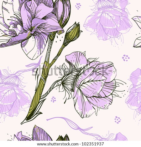 vector floral seamless pattern with violet blooming flowers