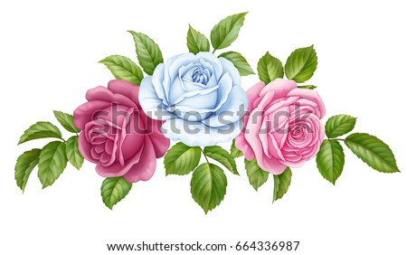 Flower vector bouquet vector floral set bouquet bunch of pink red blue white vintage rose flowers green mightylinksfo