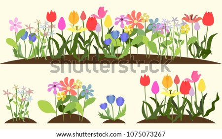 Vector floral set. Collection with leaves. Spring or summer design for invitation, wedding or greeting cards. #1075073267