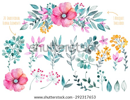 stock-vector-vector-floral-set-colorful-purple-floral-collection-with-leaves-and-flowers-drawing-watercolor