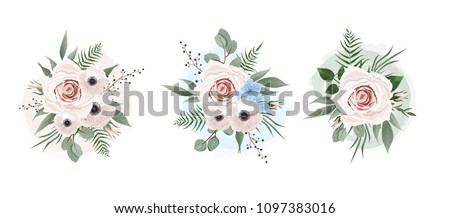 Vector floral set. Colorful purple floral collection with leaves and flowers. Set of floral elements for your compositions. #1097383016