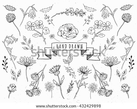 Flowers drawing download free vector art stock graphics images graphic collection with leaves and flowers drawing elements spring or mightylinksfo