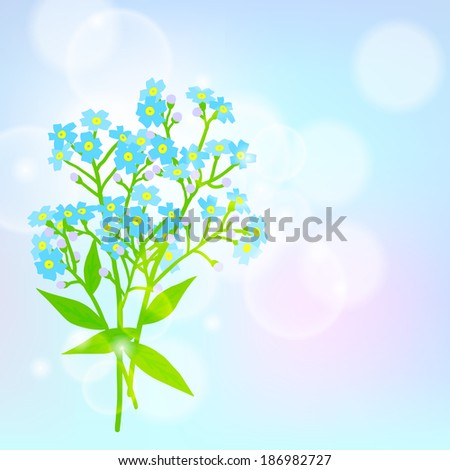 Vector floral spring background with drawings of a bouquet of small blue flowers known as forget-me-nots or Jack Frost flowers on sun lighted blurry bokeh for Mother\'s day card or wedding invitation