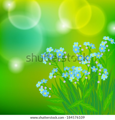 Vector floral spring background with drawings of a bunch of small blue flowers known as forget-me-not or Jack Frost flowers on sun lighted blurry bokeh
