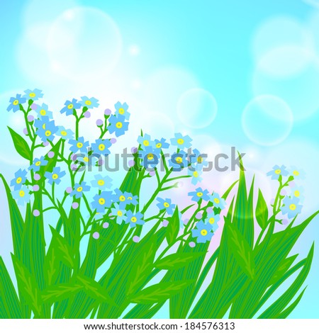 Vector floral spring background with drawings of a field of small blue flowers known as forget-me-not or Jack Frost flowers