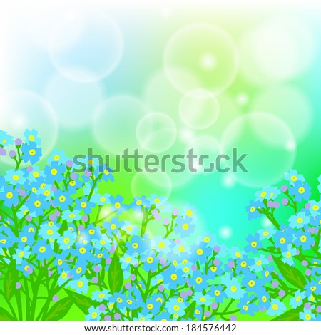 Vector floral spring background with drawings of a field of small blue flowers known as forget-me-not or Jack Frost flowers on sun lighted blurry bokeh