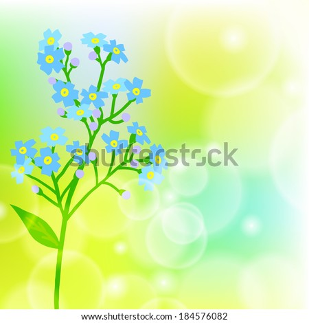 Vector floral spring background with drawings of a single small blue flower known as forget-me-not or Jack Frost flower