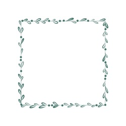 Vector floral square shaped frame. Green leaves and dots border. Hand drawn botanical copy space, template, blank, isolated on white background.