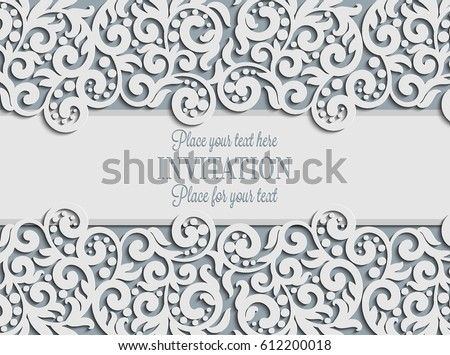 Curly swirl vectors download free vector art stock graphics vector floral swirls decorated invitation card abstract 3d background design template with place for text stopboris Choice Image