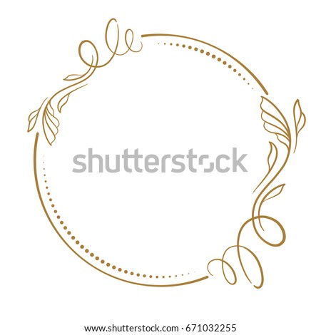 Vector floral vintage frame on a white background.