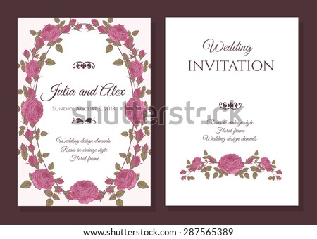 Vector floral wedding invitation card with frame of pink roses in vintage style #287565389