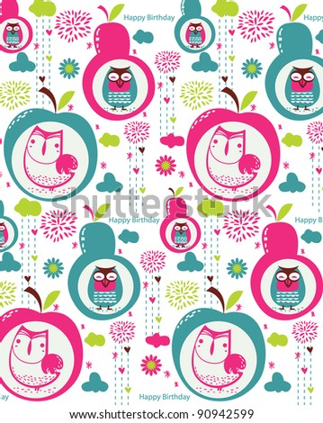Vector floral with cute owl