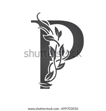 vector flourish black letter p
