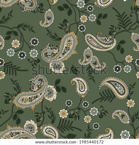 vector  flower and paisley seamless  pattern on Green
