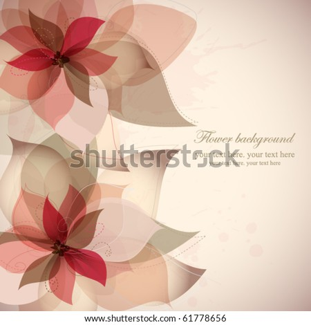 Vector flower background with splashes