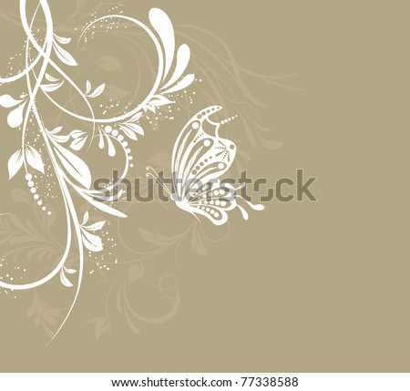 vector flower creative decorative abstract background butterfly