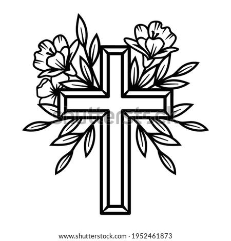 Vector Flower Cross, Floral Easter cross. Faith Cross, Religious Vector illustration