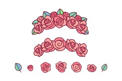 vector flower crown. red rose wreath headband