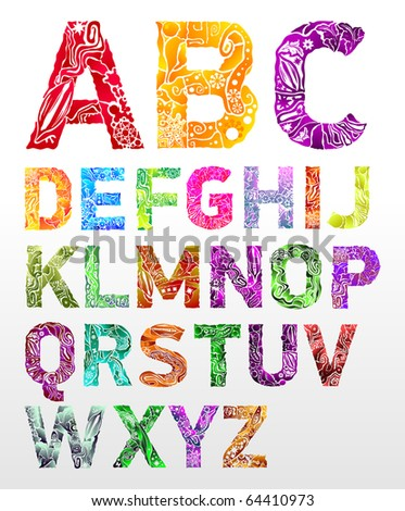 Vector flower font - stock vector