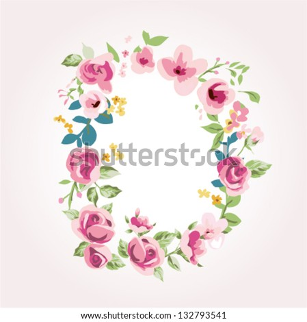 vector flower font,capital D
