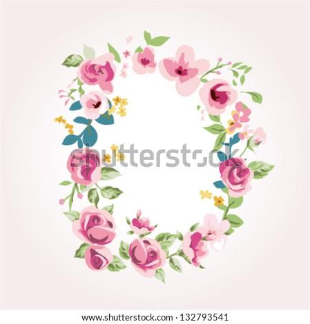 vector flower font,capital D