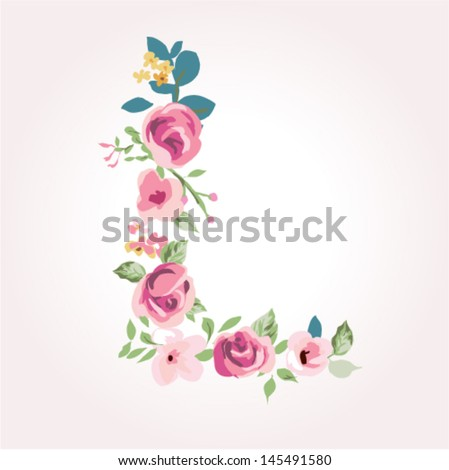 vector flower font capital l