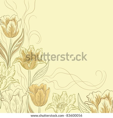 Vector flower light brown background, contours and silhouettes flowers tulips