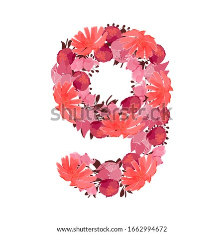 vector flower number 9