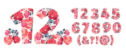 Vector flower numbers from 0 to 9. Botanical character, figure. Orange, maroon, pink, coral color flowers in the shape of a bold number. Mallow flowers with branches.