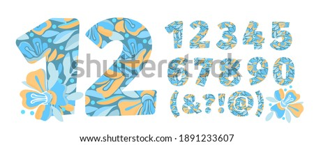 vector flower numbers from 0 to