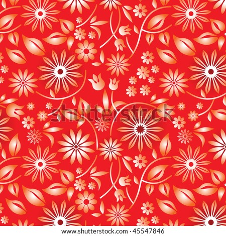vector flower sample on the red background - stock vector