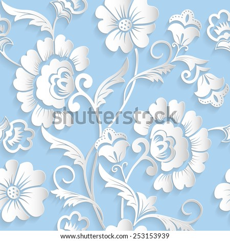 stock vector vector flower seamless pattern element elegant texture for backgrounds d elements with shadows 253153939 - Каталог — Фотообои «3D Текстуры»