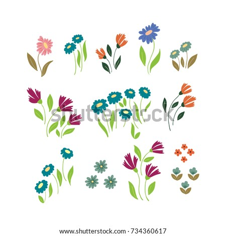 Vector flower simple flat, handdrawn botany collection isolated on white background. Set of floral and herb elements, ecology signs and icons.