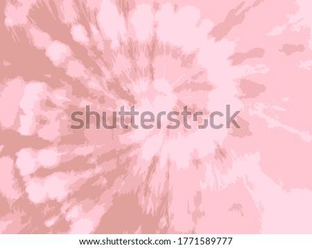 Vector Flower Tie Dye. Beautiful Spiral Bohemian Painting. Hypnotic Tie Dye Spiral Art. Pastel Gentle Vector Print. Natural Acrylic Fabric. Rose Ink Flower. Floral Fantasy Bohemian Texture.