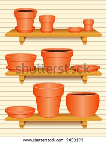 vector - Flowerpot Collection. Clay pottery 3 wood shelves with brackets, small, medium, large ceramic pots and saucers, bulb pan, azalea pots with saucers, siding background. EPS8 compatible.