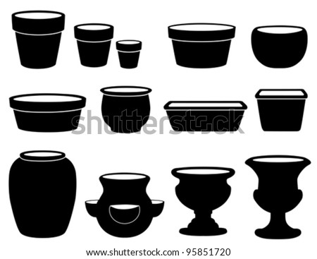 vector - Flowerpots and Pottery. Clay pots, saucers, bulb pan, bonsai pan, azalea pot, round and square planters, strawberry jar, vase, 2 urns. Silhouettes isolated on white. EPS8 compatible.